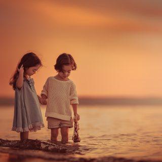 Sea Sunset Children_3840x2400